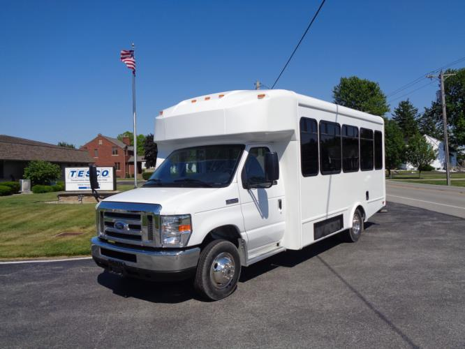 2020 Glaval Universal Ford 8 Passenger and 3 Wheelchair Shuttle Bus Driver side exterior front angle-GL96377-2