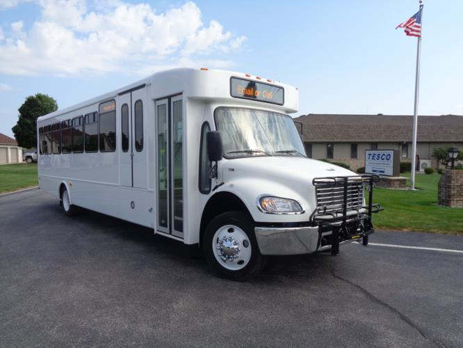 2020 Glaval Legacy Freightliner 26 Passenger and 2 Wheelchair Shuttle Bus Passenger side exterior front angle-GL97411-1