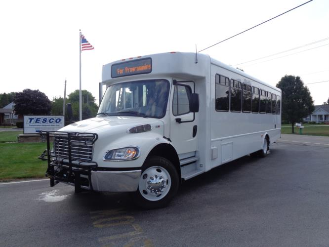 2020 Glaval Legacy Freightliner 26 Passenger and 2 Wheelchair Shuttle Bus Driver side exterior front angle-GL97411-2