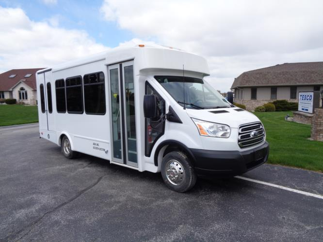 2020 Glaval Commute Ford 11 Passenger and 2 Wheelchair Shuttle Bus Passenger side exterior front angle-GL97424-1