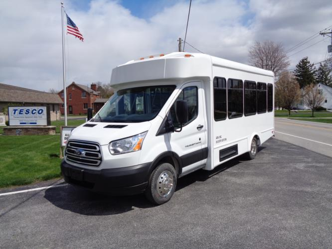 2020 Glaval Commute Ford 11 Passenger and 2 Wheelchair Shuttle Bus Driver side exterior front angle-GL97424-2