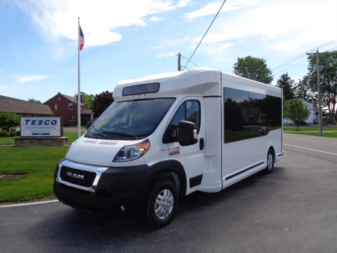2020 New England Wheels Frontrunner Dodge 8 Passenger and 3 Wheelchair Shuttle Bus Driver side exterior front angle-NEW0689-2