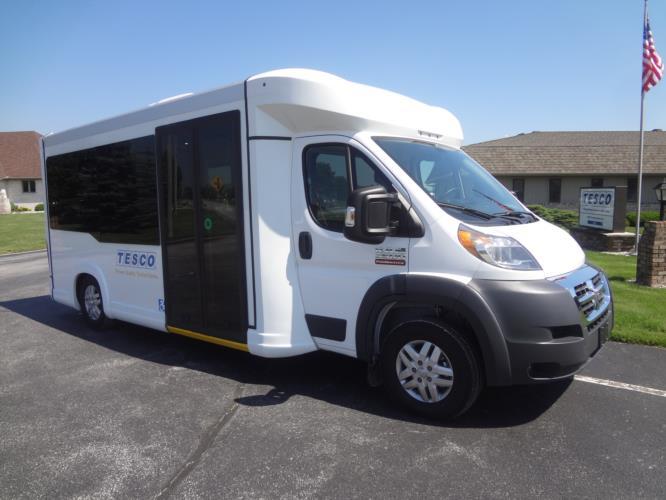 2021 New England Wheels Frontrunner Dodge 8 Passenger and 3 Wheelchair Shuttle Bus Passenger side exterior front angle-NEW1387-1