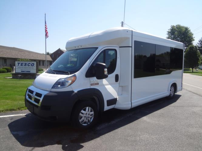 2021 New England Wheels Frontrunner Dodge 8 Passenger and 3 Wheelchair Shuttle Bus Driver side exterior front angle-NEW1387-2
