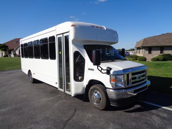 2022 StarTrans Senator II Ford 17 Passenger Shuttle Bus Passenger side exterior front angle-ST100851-1