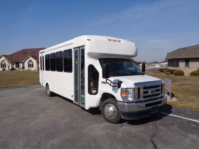 2022 StarTrans Senator II Ford 8 Passenger and 4 Wheelchair Shuttle Bus Passenger side exterior front angle-ST102278-1