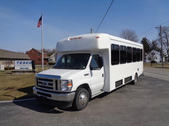 2022 StarTrans Senator II Ford 8 Passenger and 4 Wheelchair Shuttle Bus Driver side exterior front angle-ST102278-2