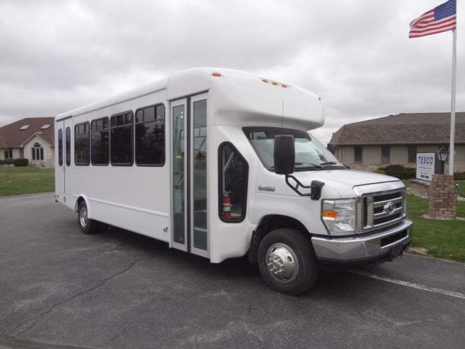 2021 StarTrans Senator II Ford 20 Passenger and 2 Wheelchair Shuttle Bus Passenger side exterior front angle-ST90101-1