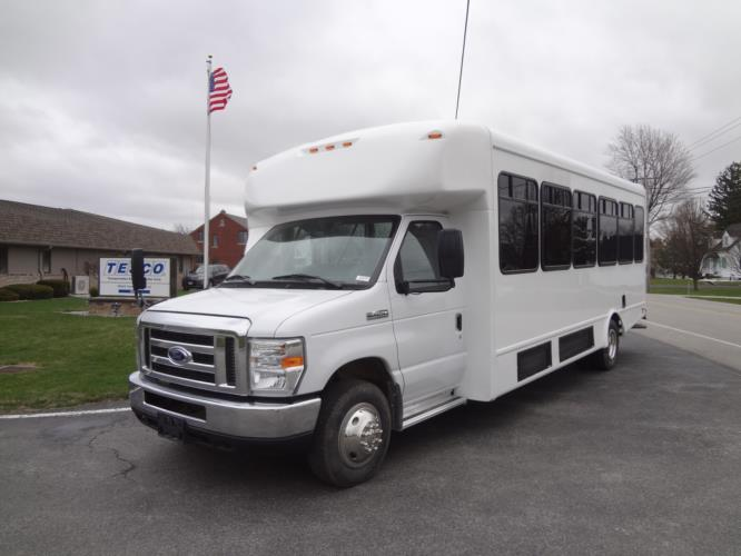 2021 StarTrans Senator II Ford 20 Passenger and 2 Wheelchair Shuttle Bus Driver side exterior front angle-ST90101-2