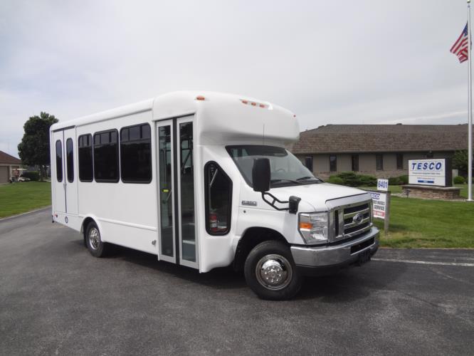 2022 StarTrans Senator II Ford 12 Passenger and 2 Wheelchair Shuttle Bus Passenger side exterior front angle-ST91006-1