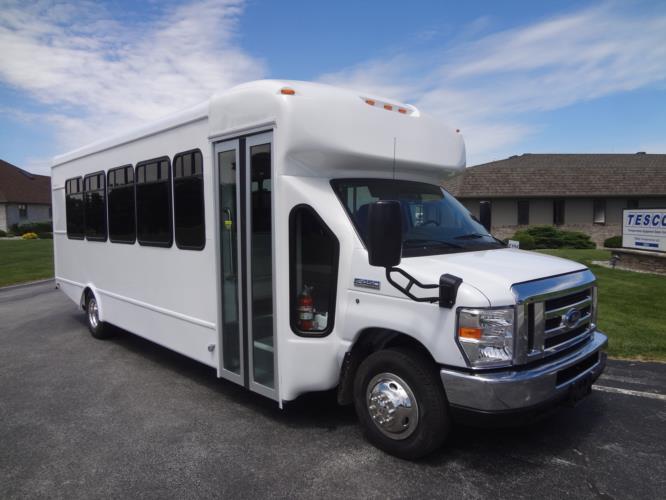 2019 StarTrans Senator II MVP Ford 24 Passenger Shuttle Bus Passenger side exterior front angle-ST91839-1