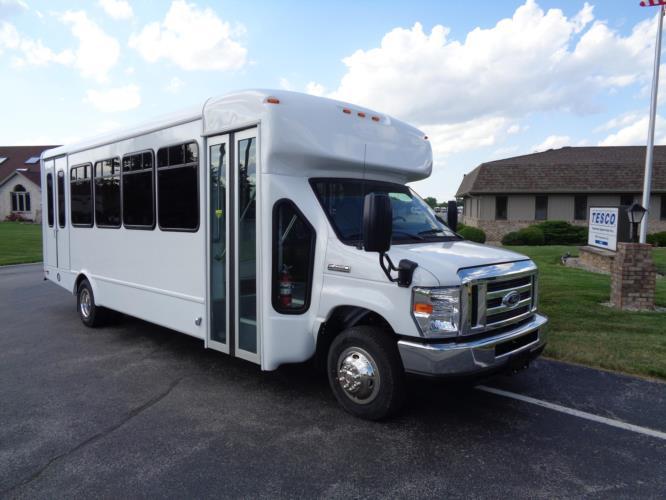 2020 StarTrans Senator II Ford 20 Passenger and 2 Wheelchair Shuttle Bus Passenger side exterior front angle-ST95940-1