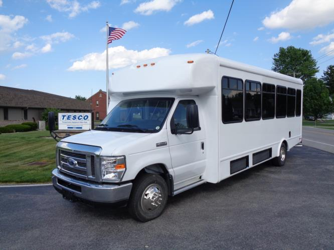 2020 StarTrans Senator II Ford 20 Passenger and 2 Wheelchair Shuttle Bus Driver side exterior front angle-ST95940-2