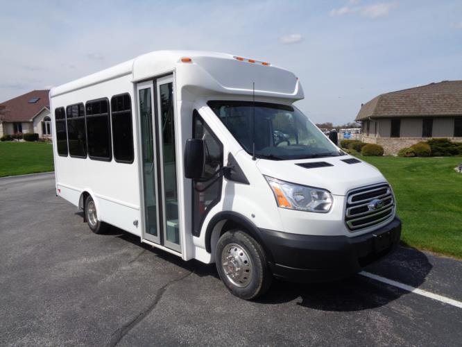 2021 StarTrans Candidate II Ford 13 Passenger Shuttle Bus Passenger side exterior front angle-ST96811-1