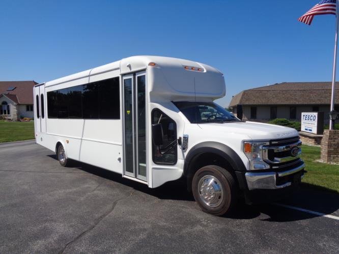 2021 StarTrans Senator II HD Ford 22 Passenger and 2 Wheelchair Shuttle Bus Passenger side exterior front angle-ST99353-1