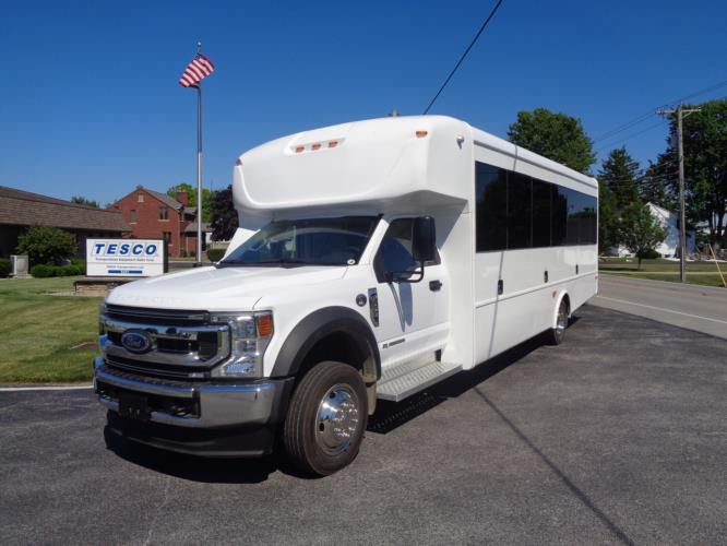 2021 StarTrans Senator II HD Ford 22 Passenger and 2 Wheelchair Shuttle Bus Driver side exterior front angle-ST99353-2