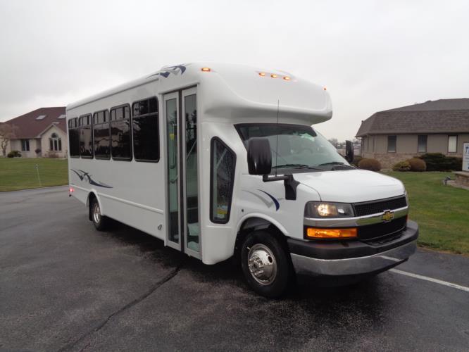 2021 Starcraft Allstar Chevrolet 25 Passenger Shuttle Bus Passenger side exterior front angle-STAR97404-1