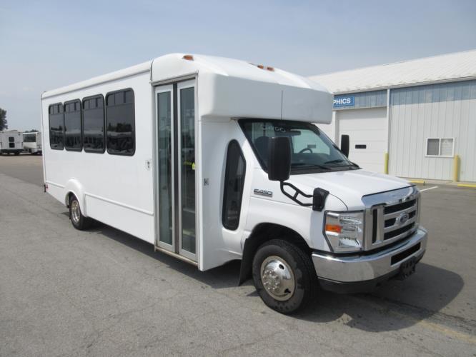 2016 Goshen Coach Ford 25 Passenger Shuttle Bus Passenger side exterior front angle-08800-1