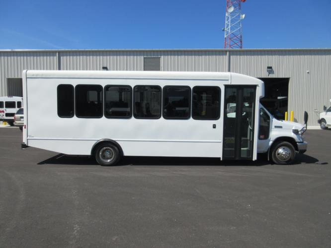 2015 Turtle Top Ford E450 25 Passenger Shuttle Bus Driver side exterior front angle-09031-2