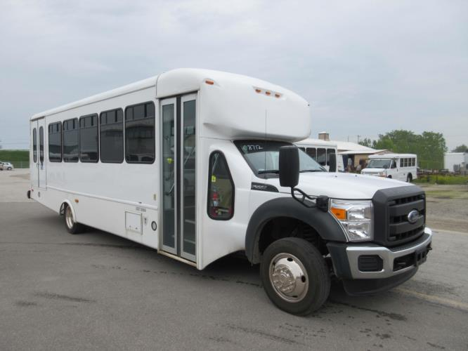 2016 Startrans Ford 24 Passenger and 2 Wheelchair Shuttle Bus Passenger side exterior front angle-09183-1