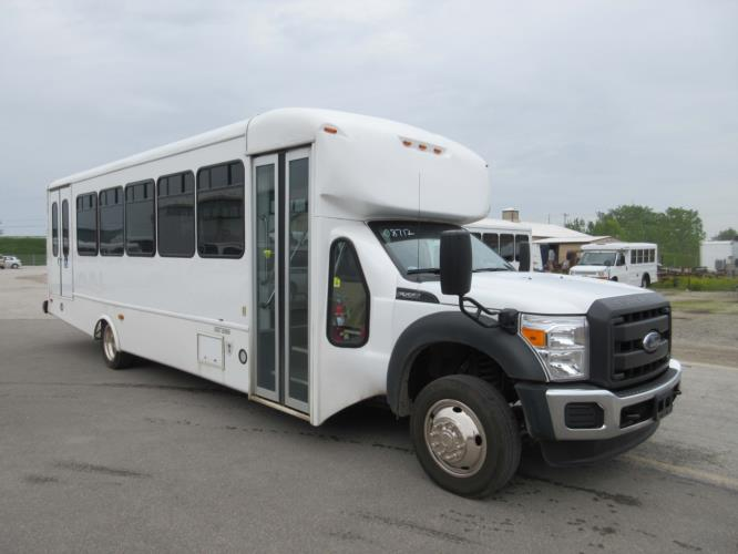 2016 Startrans Ford 24 Passenger and 2 Wheelchair Shuttle Bus Passenger side exterior front angle-09184-1