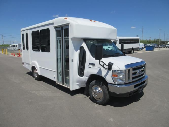2016 Goshen Coach Ford 12 Passenger and 2 Wheelchair Shuttle Bus Passenger side exterior front angle-09219-1