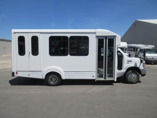 2016 Goshen Coach Ford 12 Passenger and 2 Wheelchair Shuttle Bus Driver side exterior front angle-09219-2