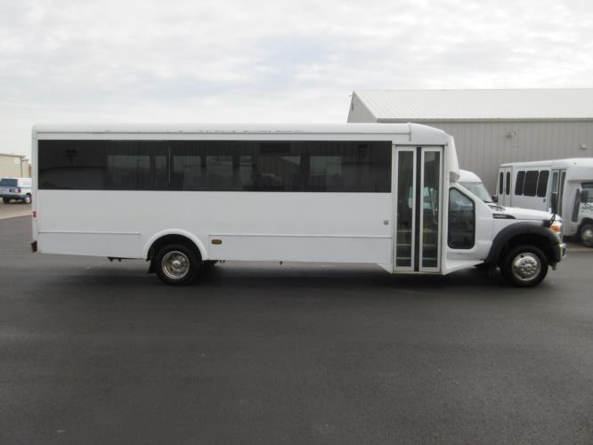 2014 Glaval Ford F550 32 Passenger Shuttle Bus Driver side exterior front angle-09222-2