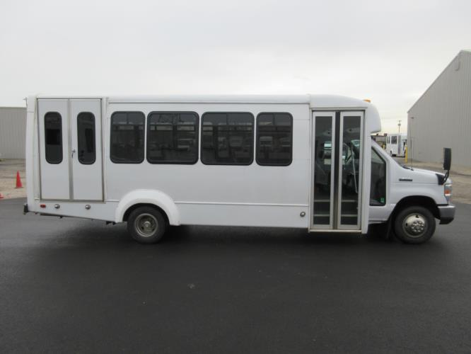 2017 Elkhart Coach Ford 18 Passenger and 2 Wheelchair Shuttle Bus Driver side exterior front angle-09226-2