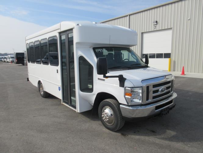 2017 Turtle Top Ford E350 14 Passenger Shuttle Bus Passenger side exterior front angle-09326-1