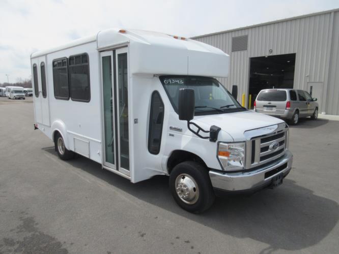 2016 Goshen Coach Ford E350 10 Passenger and 2 Wheelchair Shuttle Bus Passenger side exterior front angle-09343-1