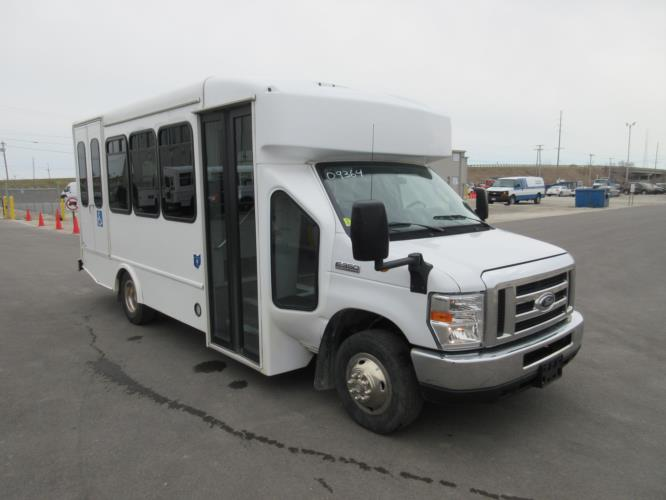 2017 Turtle Top Ford E350 12 Passenger and 2 Wheelchair Shuttle Bus Passenger side exterior front angle-09364-1