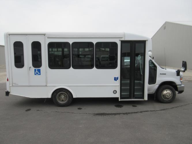 2017 Turtle Top Ford E350 12 Passenger and 2 Wheelchair Shuttle Bus Driver side exterior front angle-09364-2