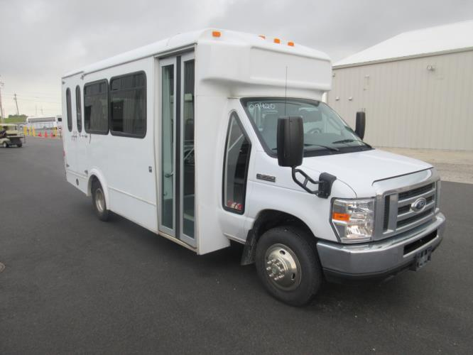 2017 Glaval Ford E350 12 Passenger and 2 Wheelchair Shuttle Bus Passenger side exterior front angle-09420-1