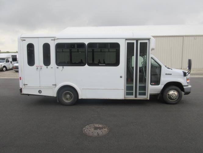 2017 Glaval Ford E350 12 Passenger and 2 Wheelchair Shuttle Bus Driver side exterior front angle-09420-2