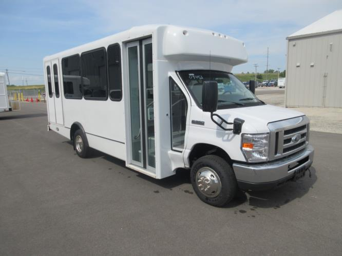 2017 World Trans Ford E350 12 Passenger and 2 Wheelchair Shuttle Bus Passenger side exterior front angle-09451-1