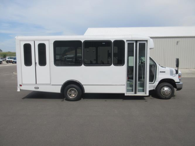 2017 World Trans Ford E350 12 Passenger and 2 Wheelchair Shuttle Bus Driver side exterior front angle-09451-2