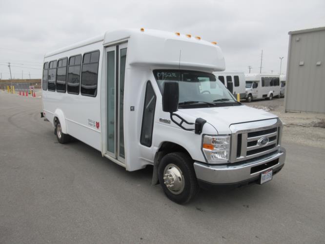 2019 Elkhart Coach Ford E450 25 Passenger Shuttle Bus Passenger side exterior front angle-09528-1