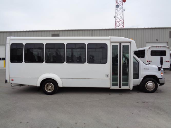 2019 Elkhart Coach Ford E450 25 Passenger Shuttle Bus Driver side exterior front angle-09529-2