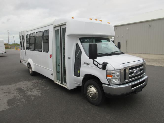 2017 Elkhart Coach Ford E450 18 Passenger and 2 Wheelchair Shuttle Bus Passenger side exterior front angle-09530-1