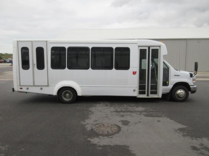 2017 Elkhart Coach Ford E450 18 Passenger and 2 Wheelchair Shuttle Bus Driver side exterior front angle-09530-2