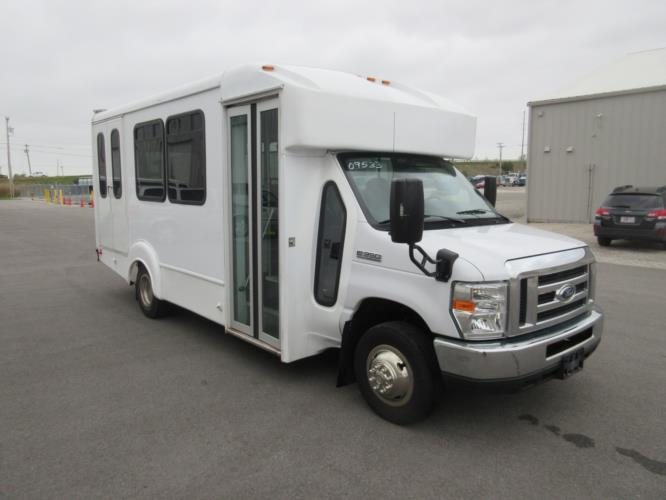 2017 Goshen Coach Ford E350 12 Passenger and 2 Wheelchair Shuttle Bus Passenger side exterior front angle-09533-1