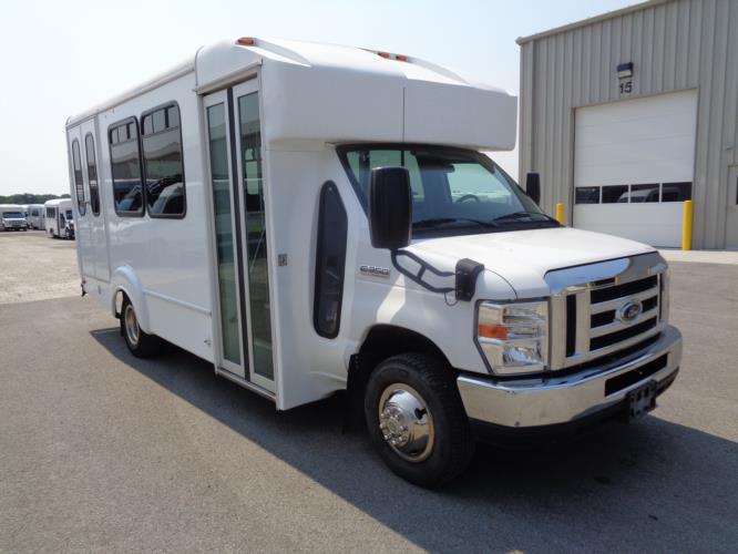 2017 Goshen Coach Ford E350 12 Passenger and 2 Wheelchair Shuttle Bus Passenger side exterior front angle-09536-1