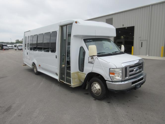 2008 Turtle Top Ford E450 8 Passenger and 4 Wheelchair Shuttle Bus Passenger side exterior front angle-09541-1