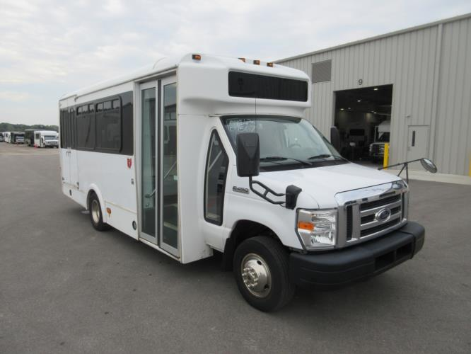 2012 Glaval Ford E450 12 Passenger and 2 Wheelchair Shuttle Bus Passenger side exterior front angle-09567-1