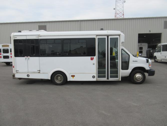 2012 Glaval Ford E450 12 Passenger and 2 Wheelchair Shuttle Bus Driver side exterior front angle-09567-2
