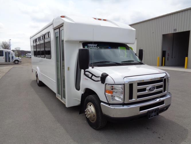 2016 Goshen Coach Ford E450 25 Passenger Shuttle Bus Passenger side exterior front angle-09667-1