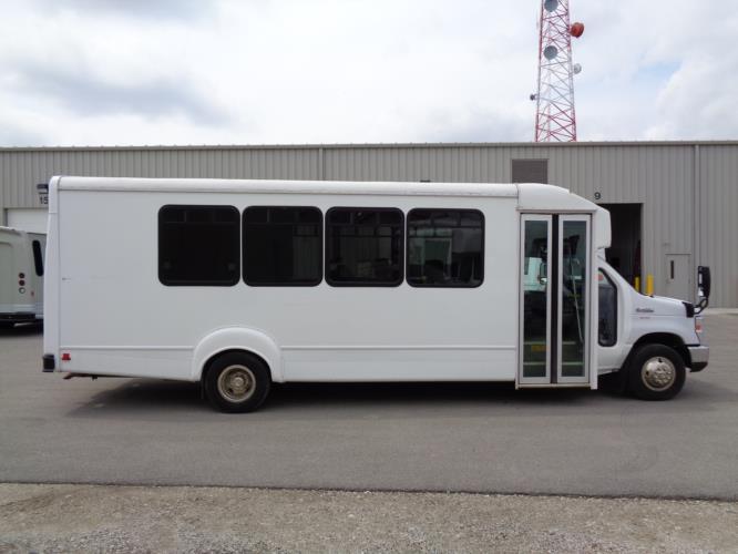 2016 Goshen Coach Ford E450 25 Passenger Shuttle Bus Driver side exterior front angle-09667-2