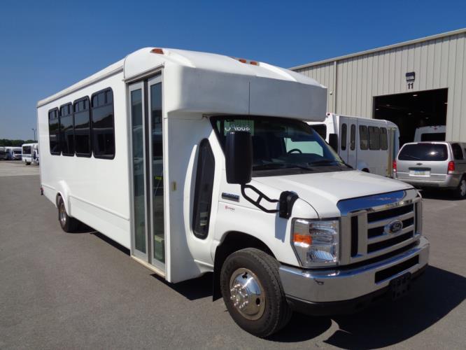 2016 Goshen Coach Ford 25 Passenger Shuttle Bus Passenger side exterior front angle-09668-1