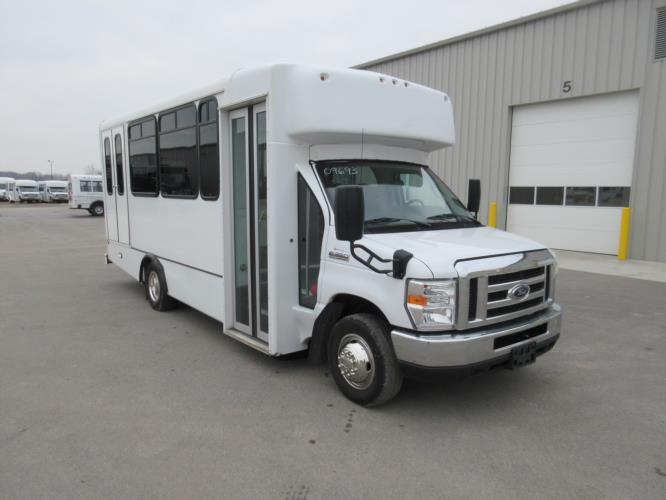 2017 World Trans Ford E350 8 Passenger and 4 Wheelchair Shuttle Bus Passenger side exterior front angle-09693-1